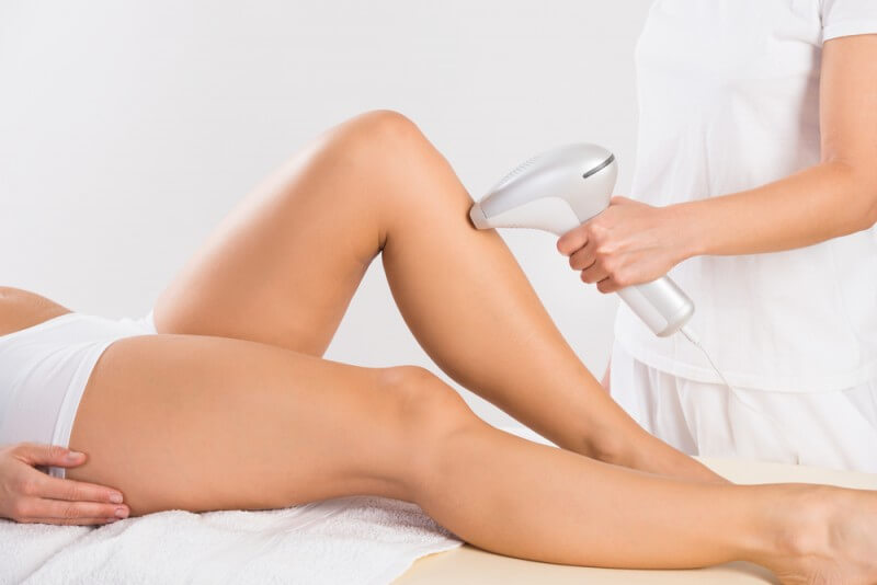 ipl applicator on leg