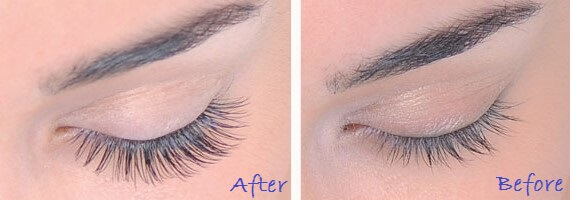Before and after photo of semi-perminant eyelash extensions