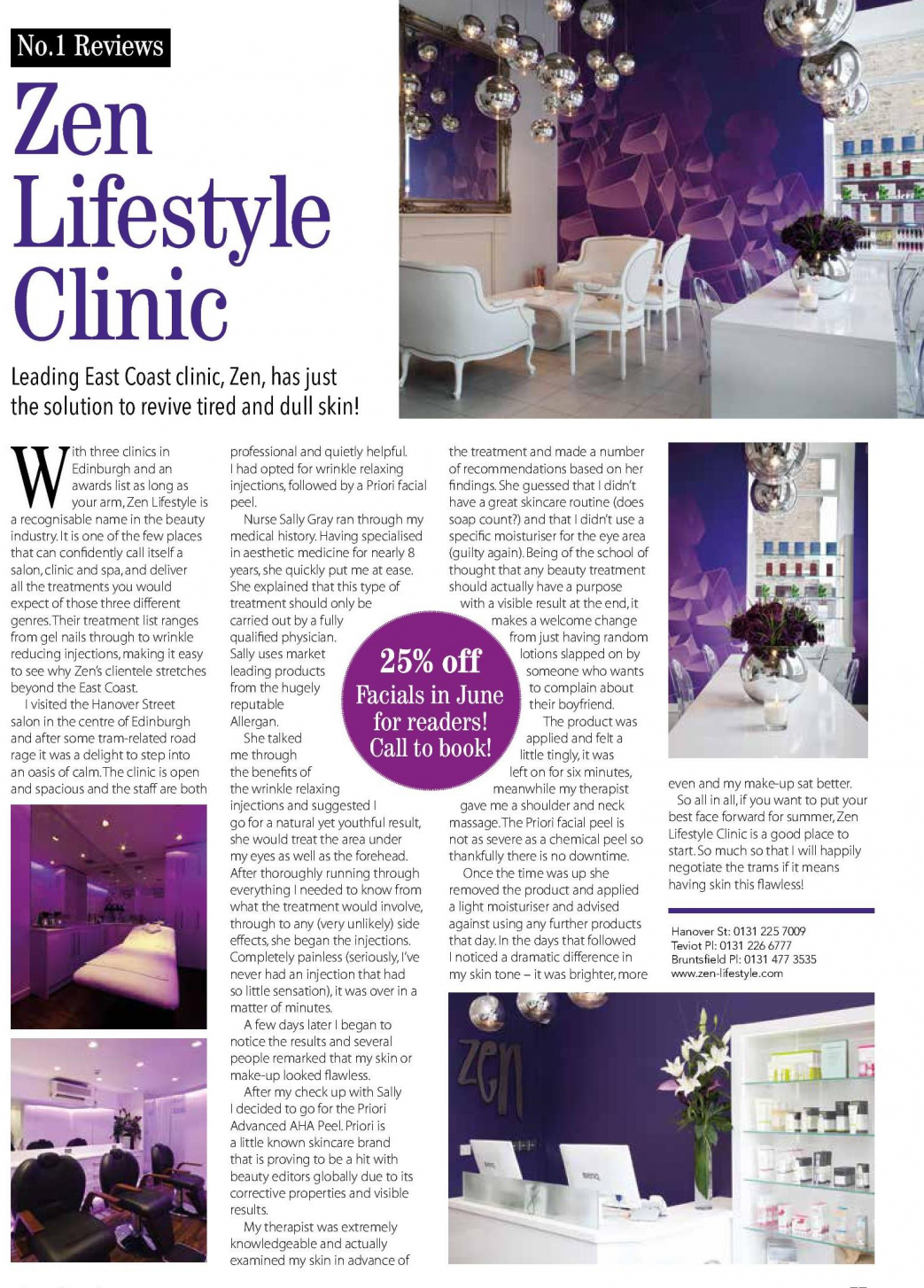 No 1 Magazine reviews our Skin Clinic - Zen Lifestyle
