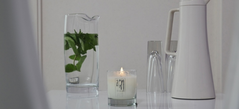 Zen Refreshment Table with Candle and Water Jugs
